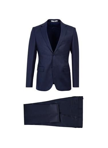 Kiğılı Slim Fit Desenli Takım Elbise Lacivert